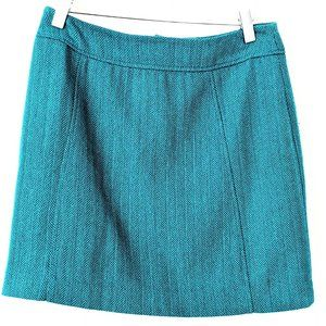 H&M Teal Wool Mini-skirt with lining, Size 6